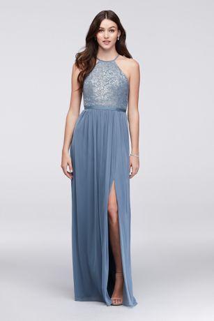 High Neck Metallic Lace And Mesh Bridesmaid Dress 4xlf19608m