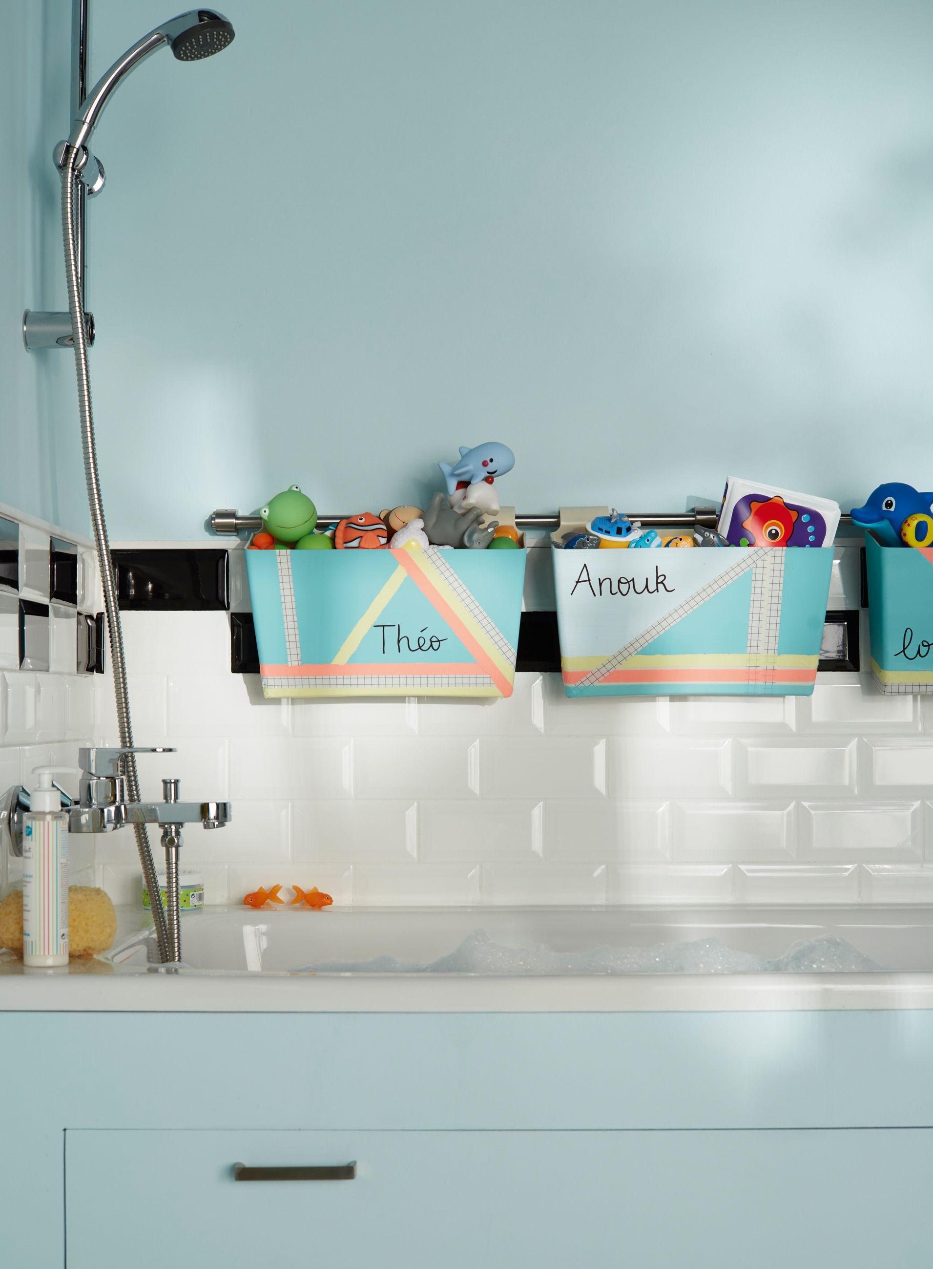 rangement jouets salle de bain