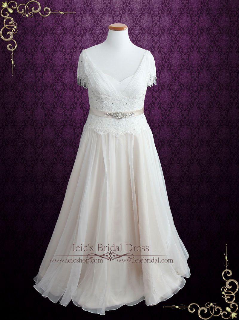 Vintage lace chiffon wedding dress with jeweled sash and fringe cap