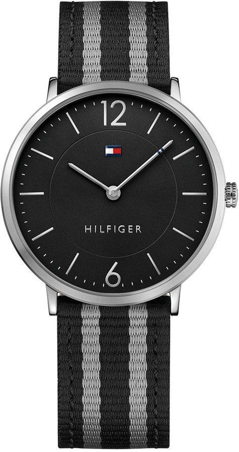 4ff8969c95e Tommy Hilfiger Men s Casual Sport Slim Black and Gray Striped Nylon Strap  Watch 40mm 1791329