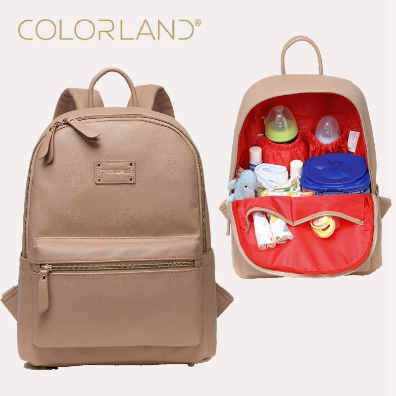 5caaca2e6bb5 COLORLAND Diaper Bag Backpack PU Leather Baby Bag Organizer large Nappy Bags  Mother Maternity Bags Mom