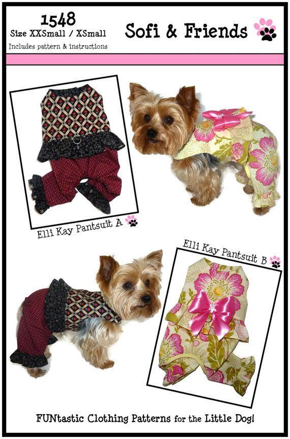 Elli Kay Dog Pants Suit Pattern 1548 * Dog Clothes Patterns * Dog ...