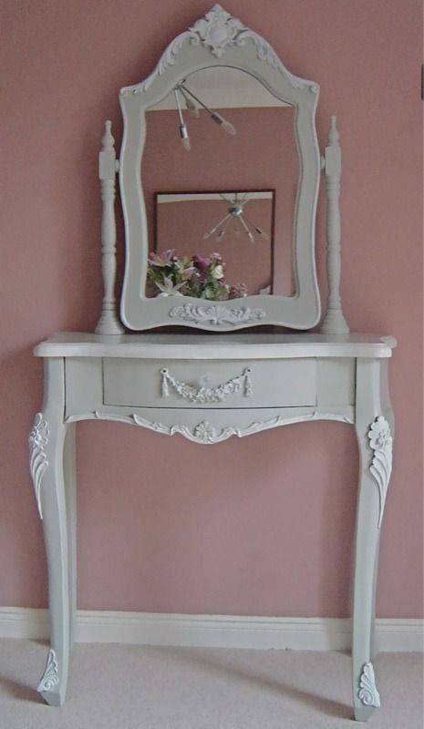 French grey shabby chic dressing table and mirror set - R10-8021-FG ...