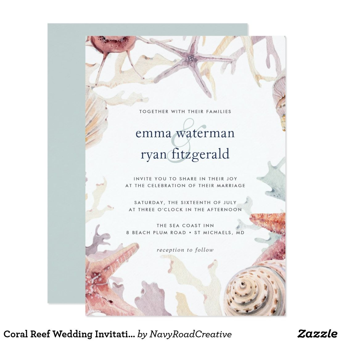 Coral Reef Wedding Invitation | Coral reefs, Invites wedding and Favors