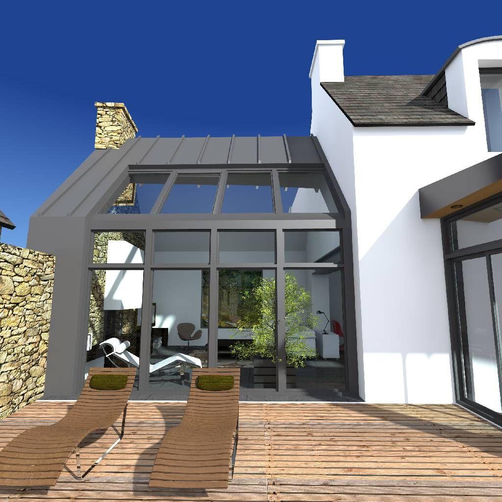 projet de r novation et d 39 extension moderne d 39 un penty grande terrasse en bois id e r no. Black Bedroom Furniture Sets. Home Design Ideas