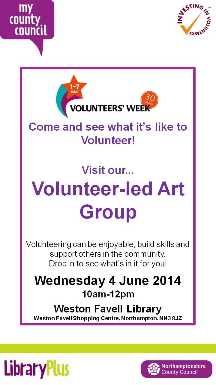 Visit the Volunteer led Art Group at Weston Favell Library, Wednesday 4 June 10am-12pm.