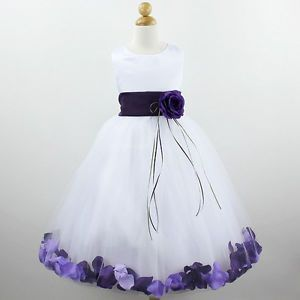Details About Ivory Dark Purple With Purple Flower Girl Dress