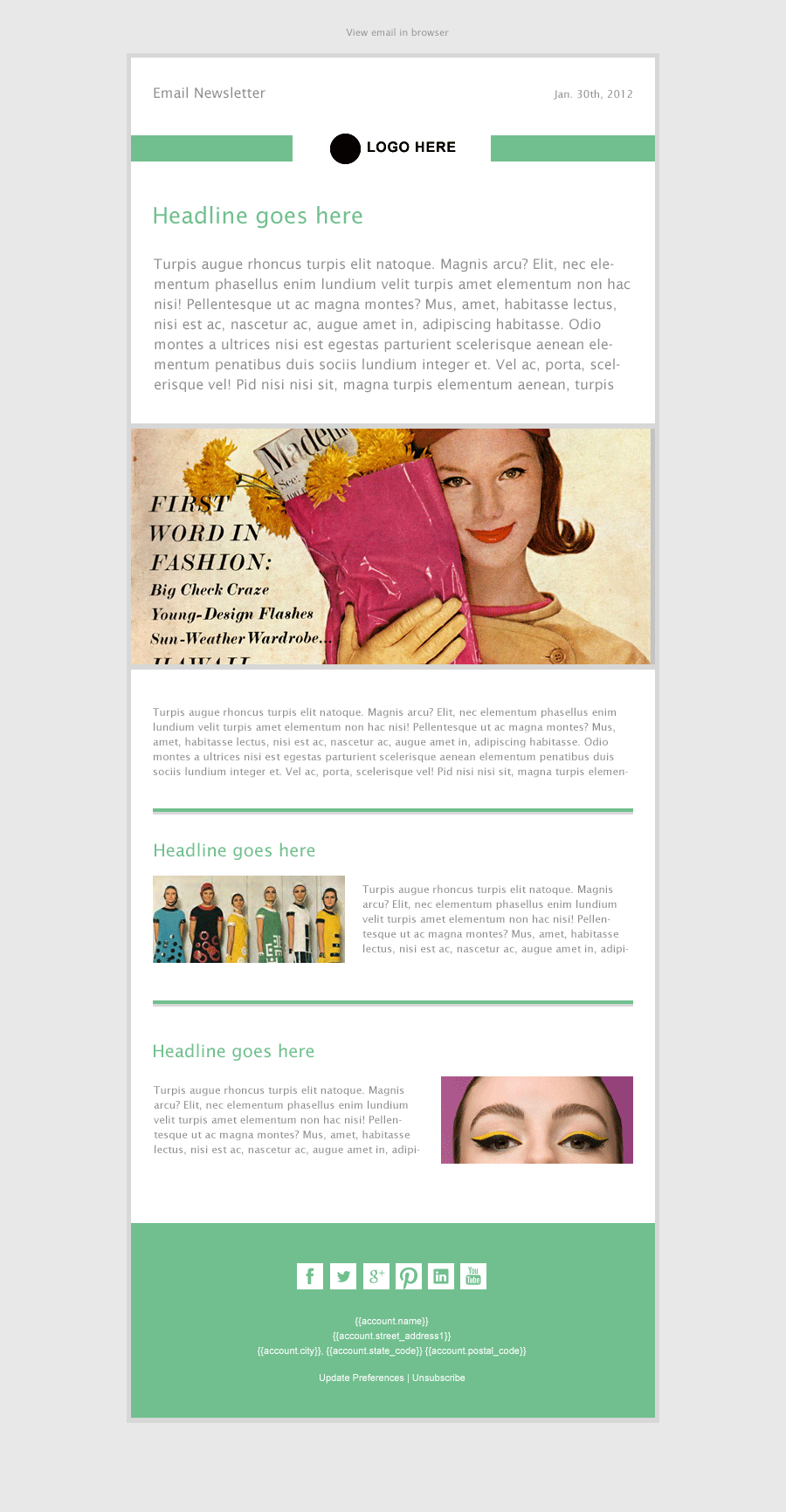 Thin Mint Modern Simple Email Newsletter Template Available From