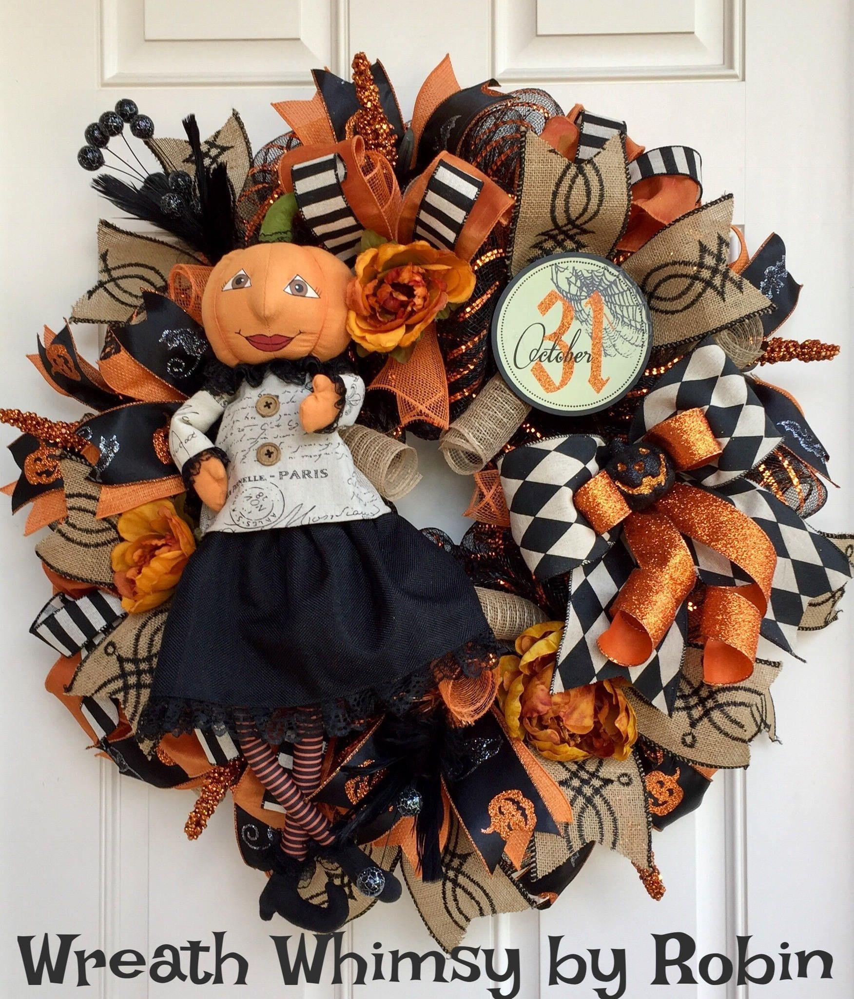 Halloween Deco Mesh Wreath in Tan, Orange and Black with Pumpkin - halloween front door decor