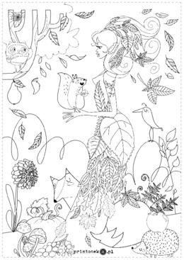 Pani Jesień Kolorowanka Printotekapl Jesień Sketches