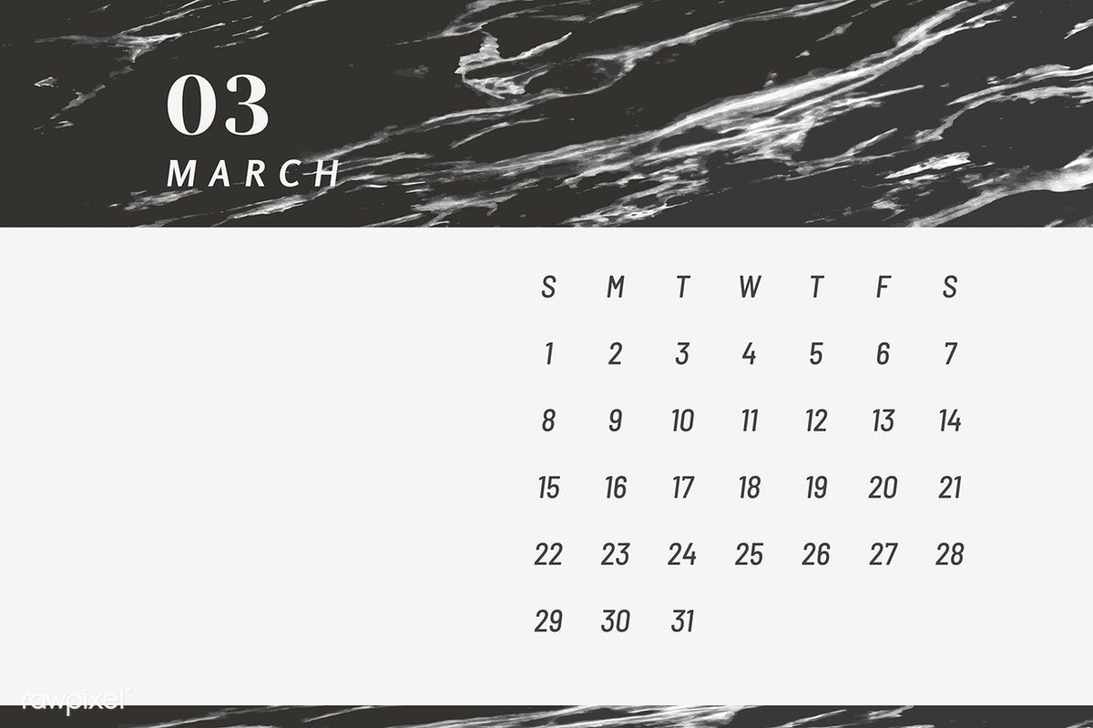 2020的Download premium illustration of Black March calendar