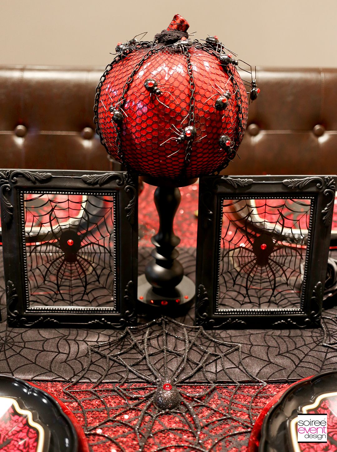 Halloween Dinner Party Table 3 Ways - Black Widow Spider Theme