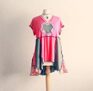 Bohemian, plus size, hot pink, women's, wearable art tunic top in size 1X-2X.