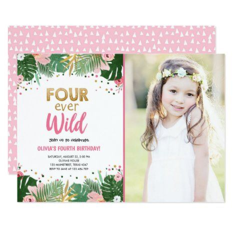 Four Ever Wild Tropical Safari Girl Birthday Invitation