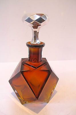 Magnificent Quality Art Deco Amber Cut Glass Decanter with Sterling Stopper | eBay