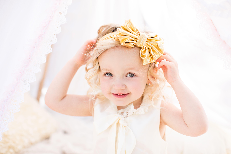 Baby Girls Satin Garter Kylie Headwear Hair Band Frilly Elastic Ribbon Headband