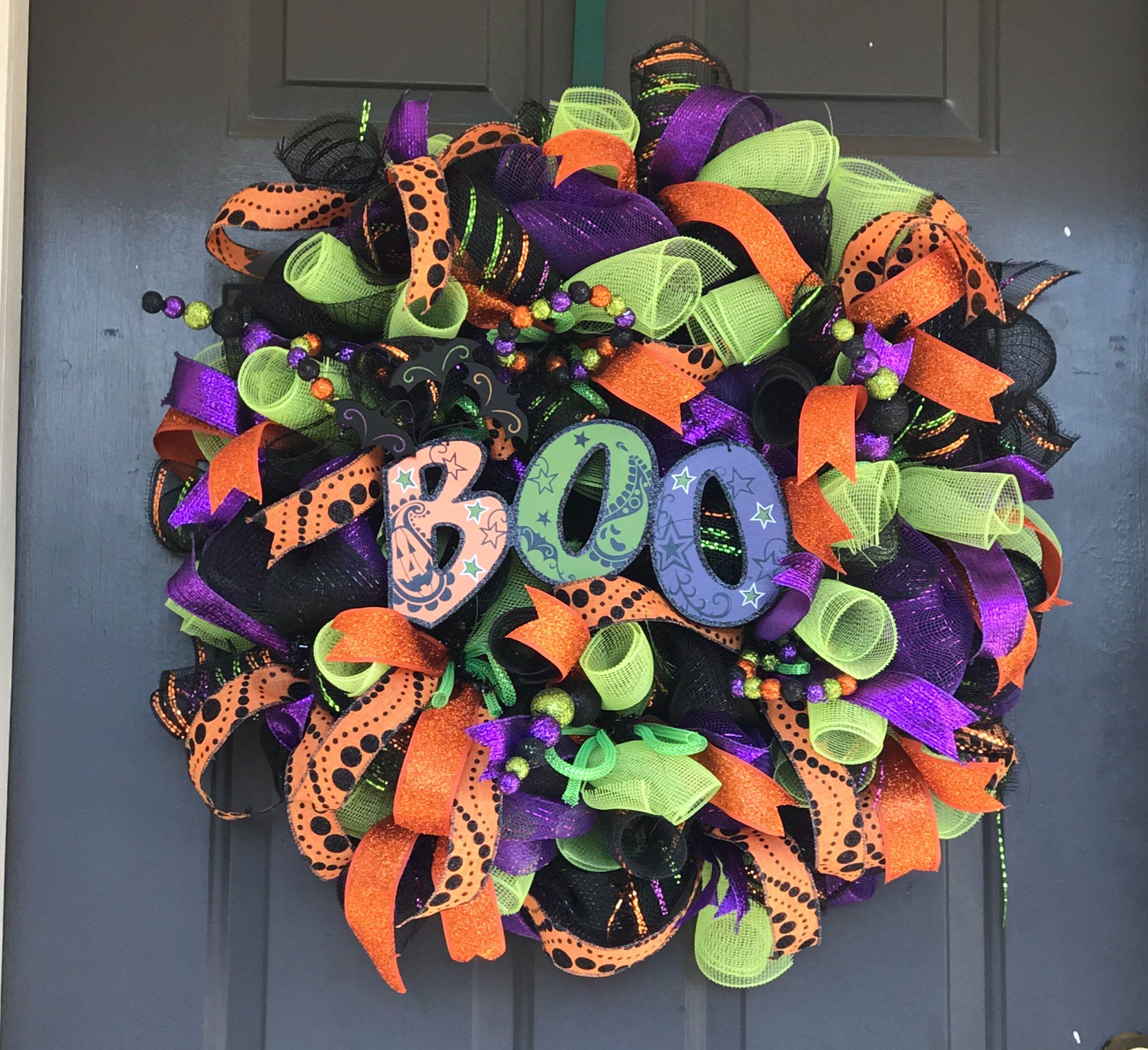 Halloween Wreath, Front Door Decor, Deco Mesh Halloween decoration - halloween front door decor