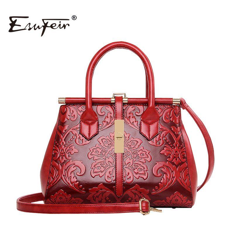 New 2017 Fashion Women Embossed Leather Handbag High Quality Bag Vintage Shoulder Chinese