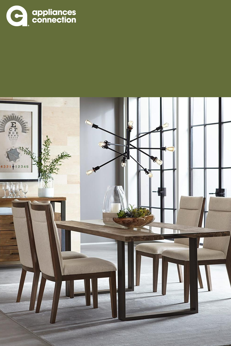Natural Wood Dining Room Design With Modern Light And Cloth Seated Chairs Dumont Collection 19841sb4sc Dining Room Design Wood Dining Room Standard Furniture