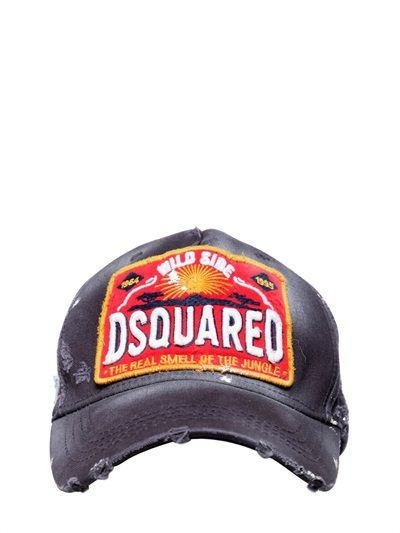 d7af321f3fc47 DSQUARED - RIPPED WASHED COTTON CANVAS BASEBALL CAP - LUISAVIAROMA - LUXURY  SHOPPING WORLDWIDE SHIPPING - FLORENCE