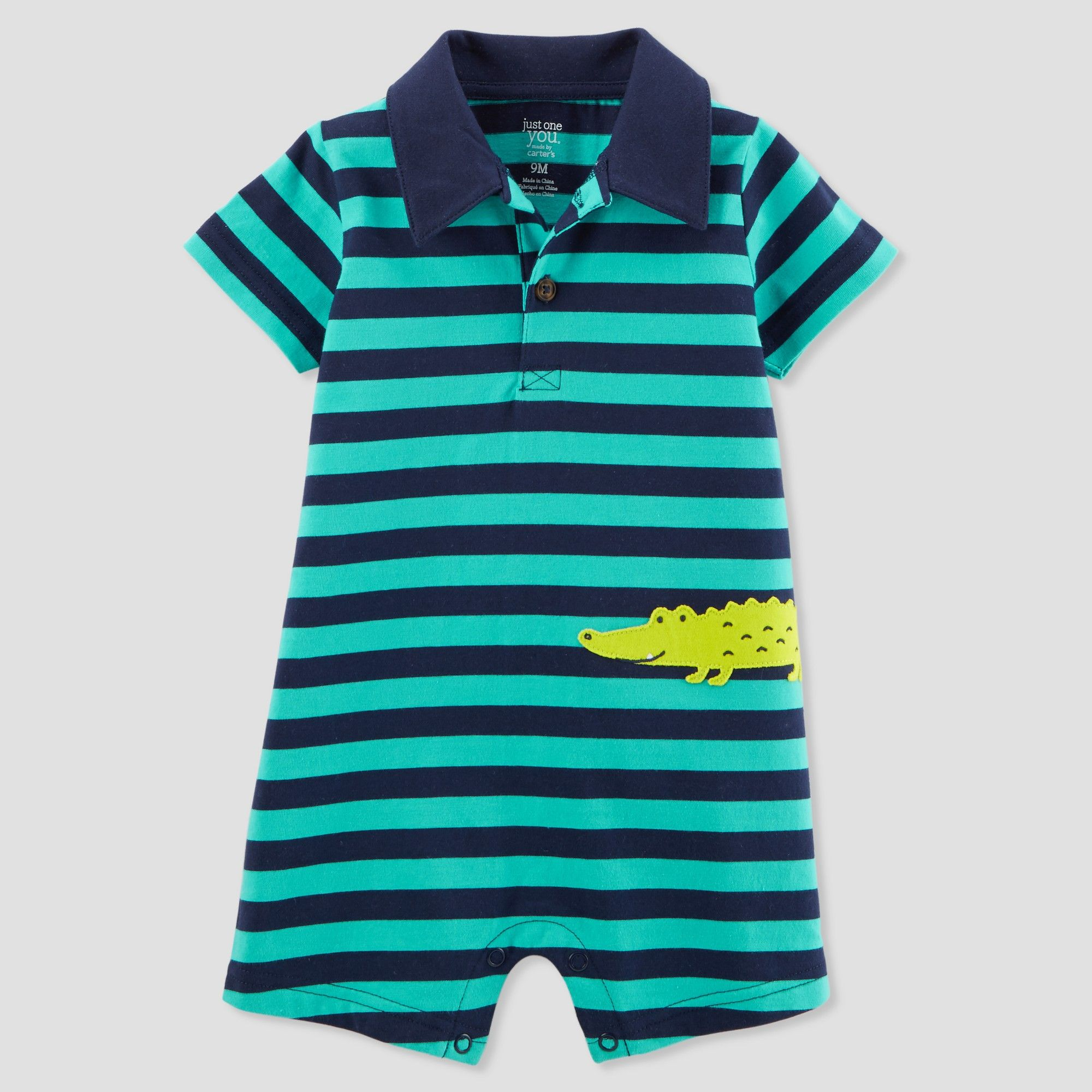 e0260ed37 Baby Boys' 1pc Alligator Polo Romper - Just One You made by carter's Teal  24M, Blue