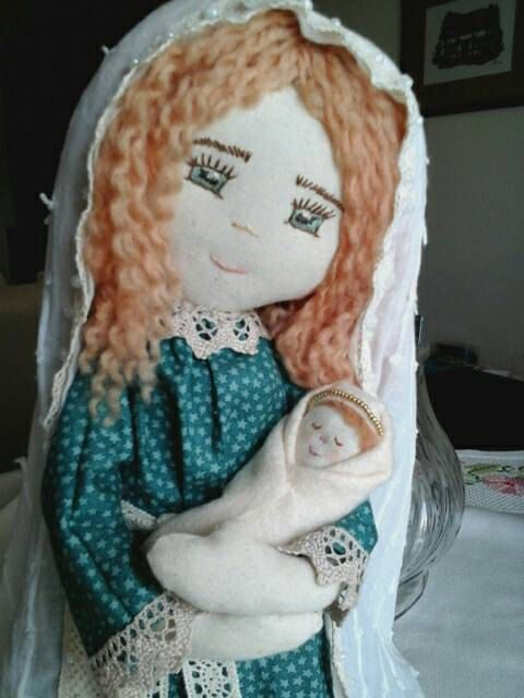 Holly Mary and baby Jesus fabric doll embroidered by InnerFeeling