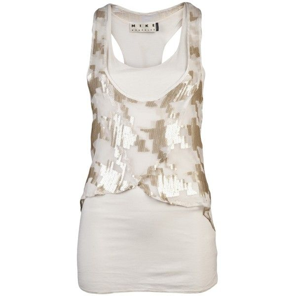 9a7b1b3d9082 MIKE GONZALEZ HATTIE SEQUINED TANK ( 93) ❤ liked on Polyvore featuring tops