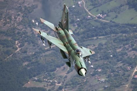 size: 24x16in Photographic Print: A Bulgarian Air Force Mig-21Bis Armed with R-60 Missiles by Stocktrek Images : Artists
