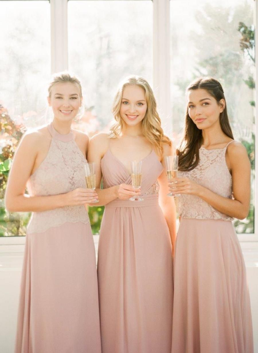 From sparkly metallics to soft neutrals to the prettiest shade of pink ever, 2018 is looking to be a good year. | Gowns: Bari Jay | Photography: You Look Lovely Fine Art Photography #sponsored #bridesmaiddresses