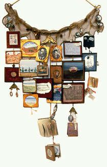 Suze Rotolo; artist statement; RELIQUARY: Things I Carry. A reliquary is a container where relics are kept for contemplation. I made my reliquary in the form of a necklace and it contains the story of my life which I am destined to carry.