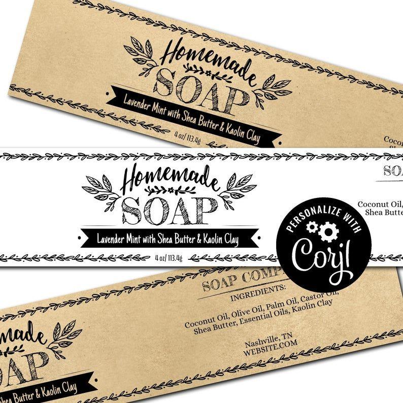 Soap Label Template Hand Drawn Design Custom Printable Soap Etsy Soap Labels Template Soap Labels Label Templates