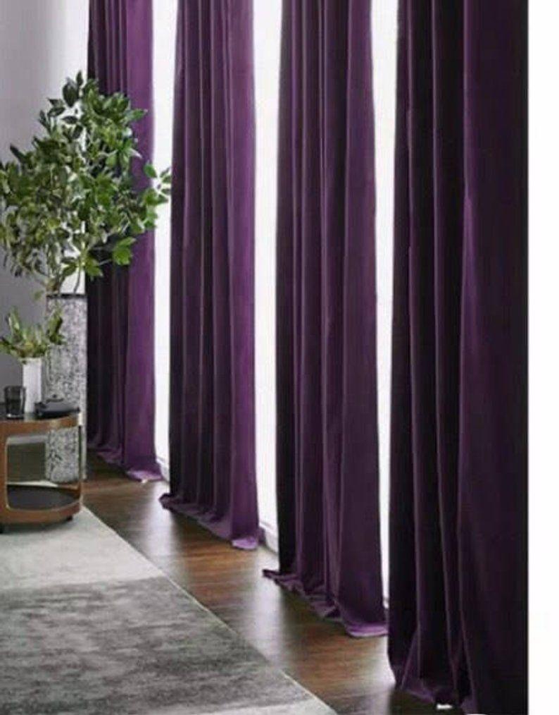Curtains Luxury Velvet Curtain Rod Pocket Window Drapery Vintage Style Custom Made Home Decor Eggplant Velvet Curtains Window Draperies Purple Bedroom Decor