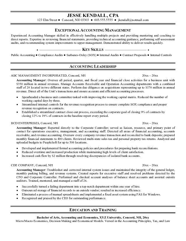 Example Accounting Manager Resume Free Resume Templates