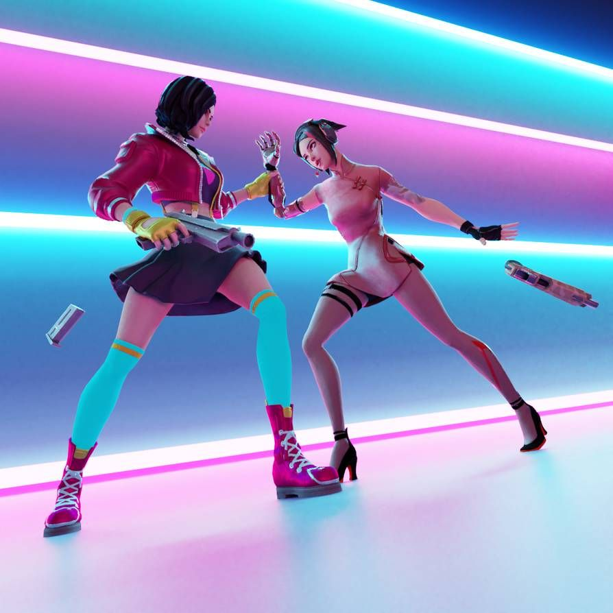 Close Quarters A Fortnite Rox And Demi Render By Wastingnight On Deviantart Gamer Pics Best Gaming Wallpapers Gaming Wallpapers
