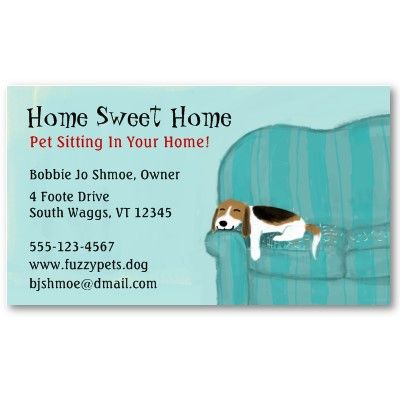 Happy Couch Dog Cute Beagle Pet Care Animal Lover Business Card