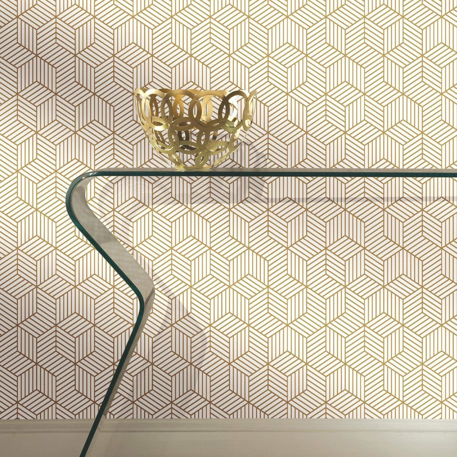 Stripped Hexagon Repositionable And Removable Peel And Stick Wallpaper Amazon Com Mid Century Modern Wallpaper Peel And Stick Wallpaper Modern Wallpaper