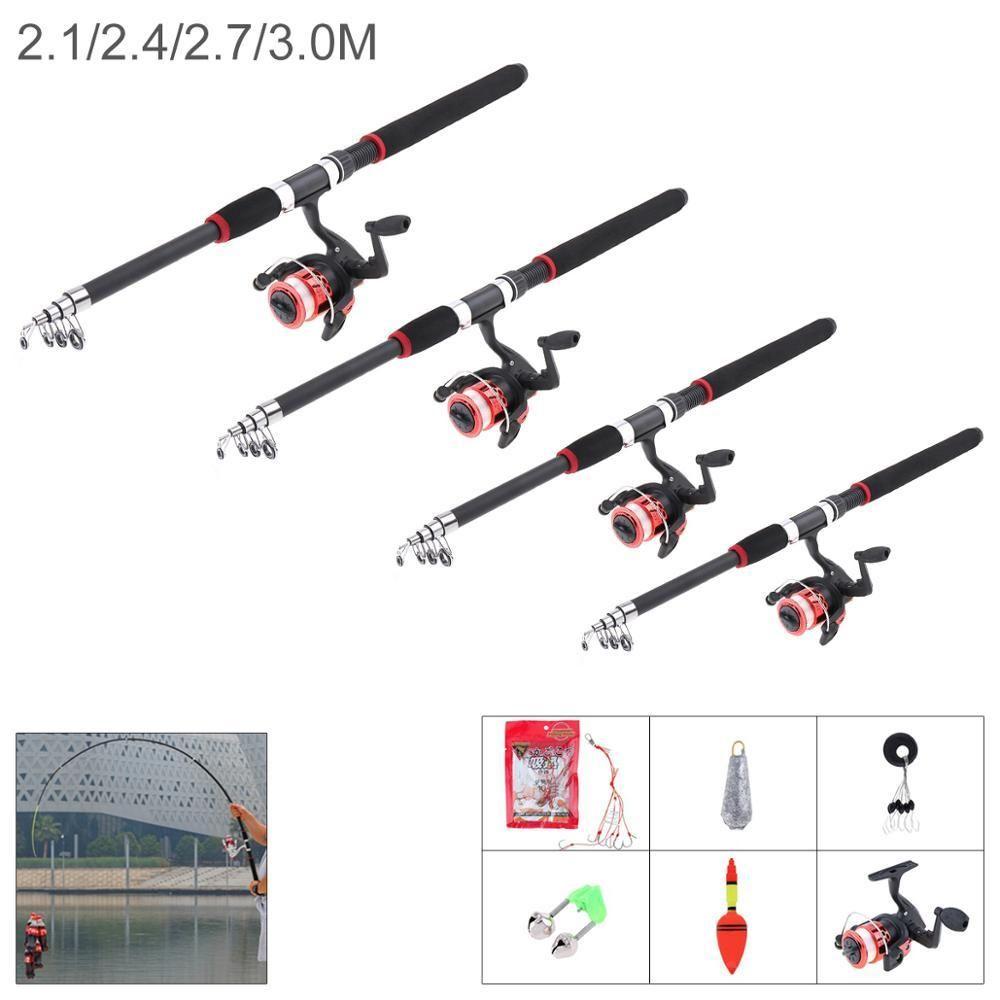 3M Fishing Rod Reel Line Combo Full Kit Spinning Reel Pole Float Hook Beads Lure
