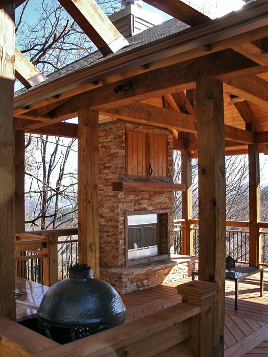 Outdoor Covered High Deck With Fireplace Covered Deck With Fireplace 2 Outdoor Fireplace Outdoor Wood House Exterior