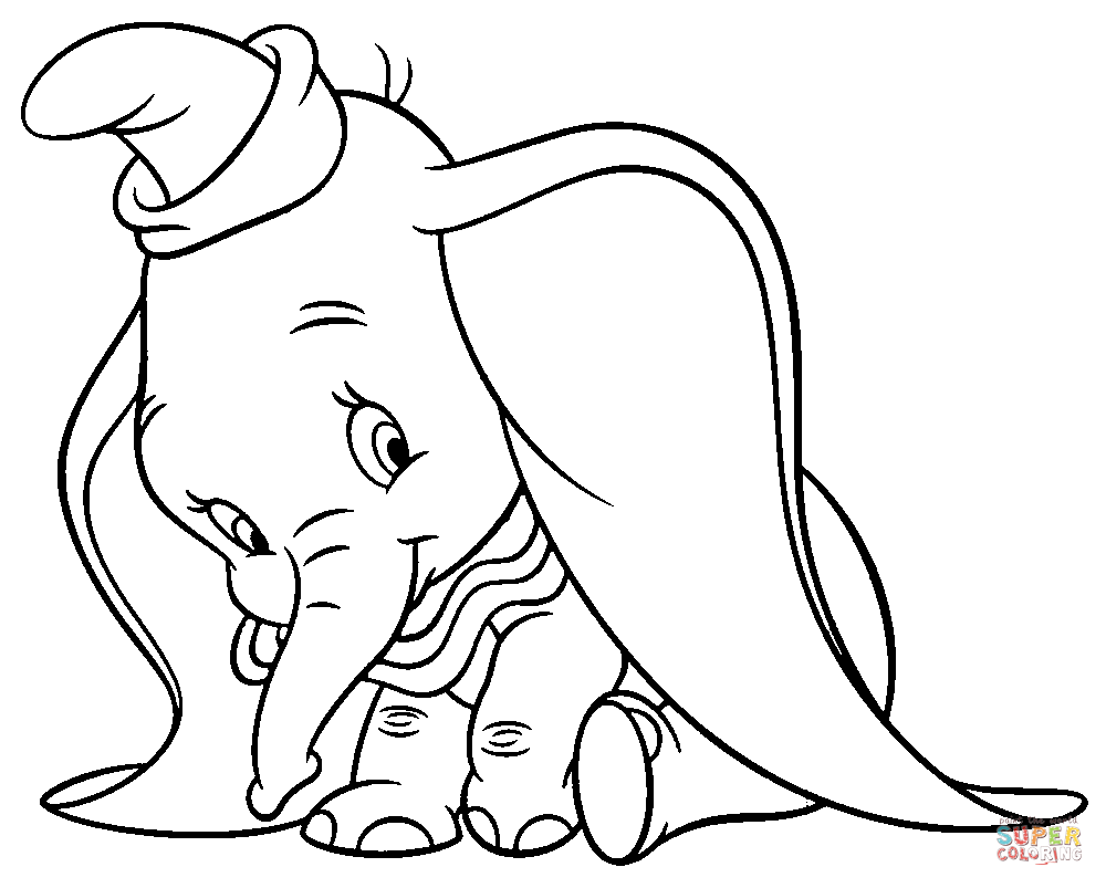 cloring+pages | Shy Dumbo coloring page | Free Printable Coloring ...