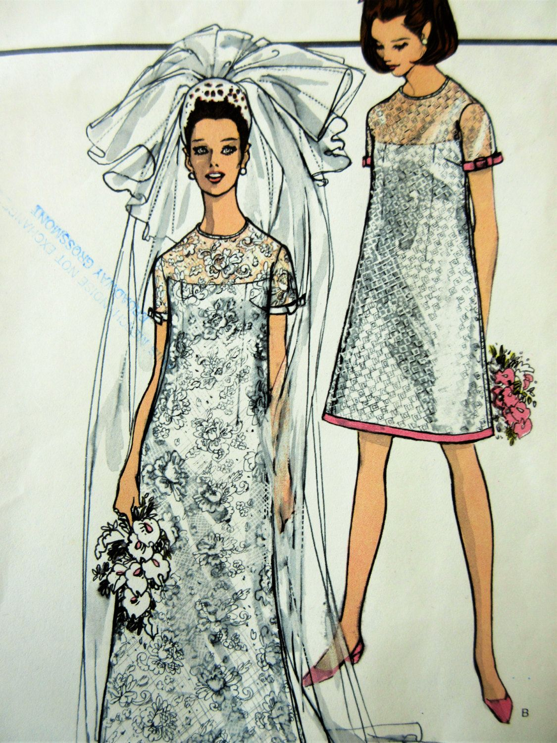 Vintage vogue 1852 sewing pattern 1960s wedding dress pattern mod vintage vogue 1852 sewing pattern 1960s wedding dress pattern bridesmaid dress mod dress ombrellifo Images