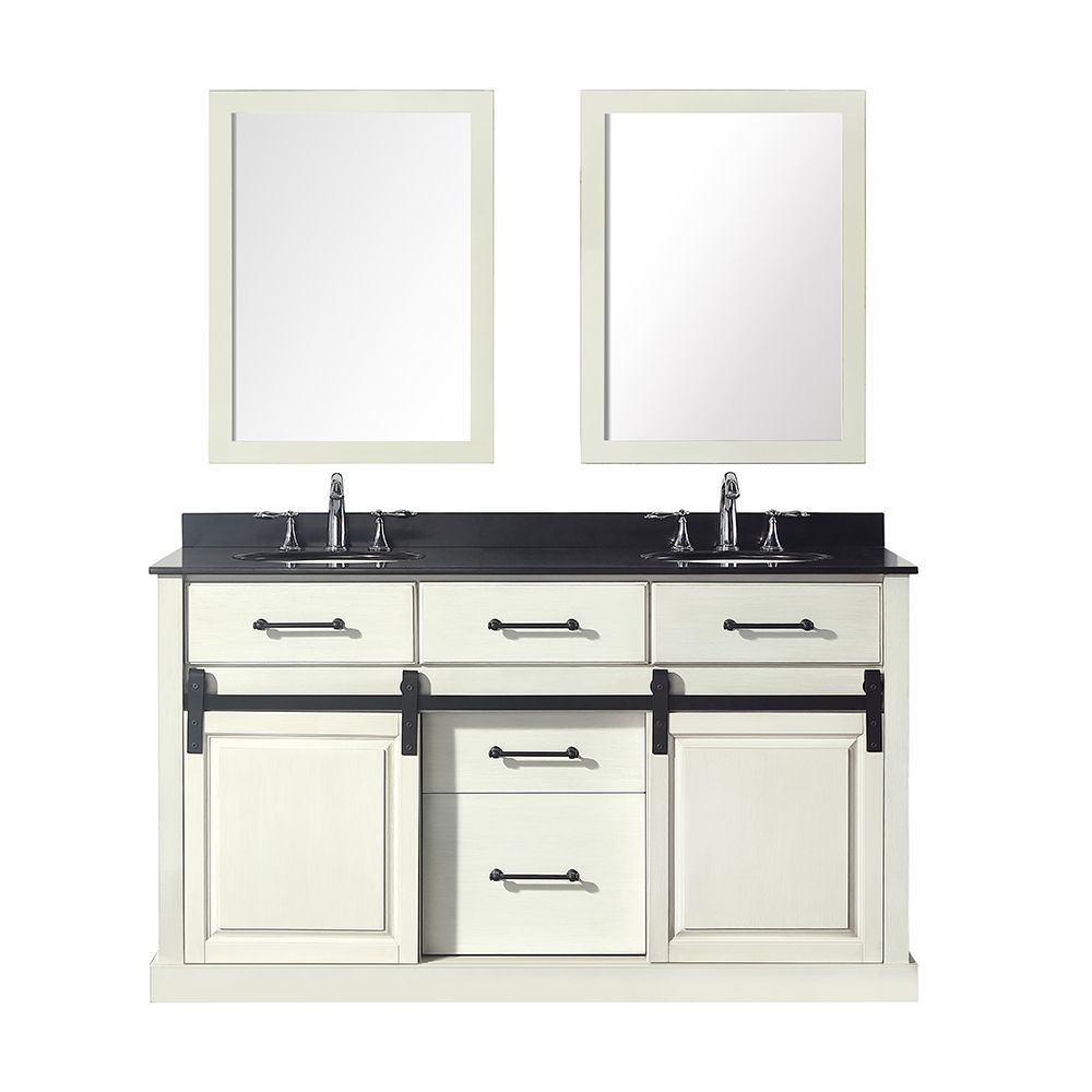 Merceza 60 Inch Antique White Vanity Bathroom Cabinet With Images