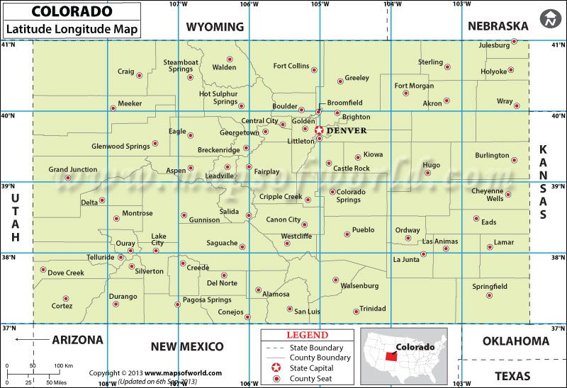 Colorado Latitude And Longitude Map K Social Studies - Us map with lines of latitude