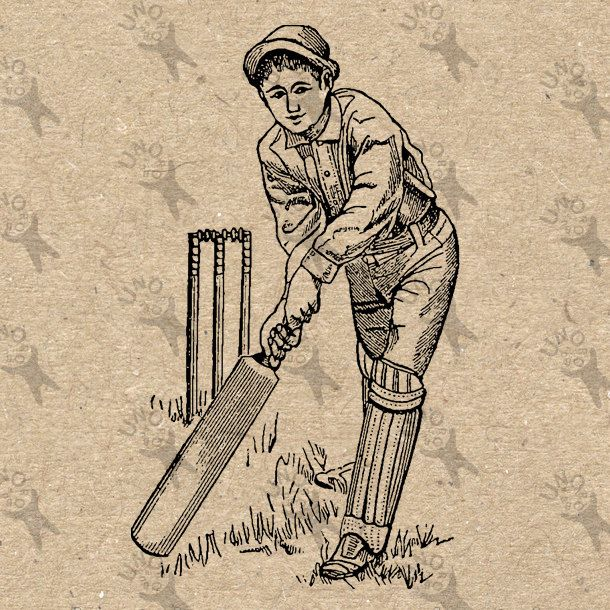 Vintage Cricket Player Bat black and white image Instant ...