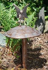 Fairy Sitting On A Mushroom Garden Statue in aged bronze finish cast aluminium