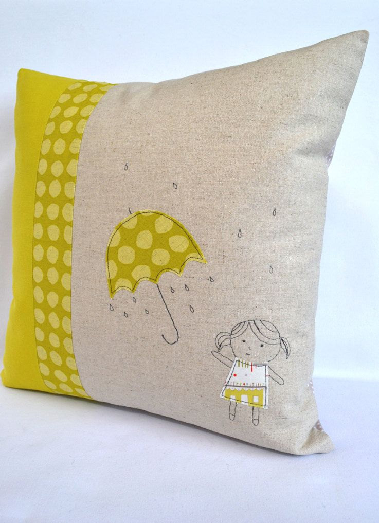 umbrella girl cushion throw pillow cushion cover applique embroidery design via. Black Bedroom Furniture Sets. Home Design Ideas