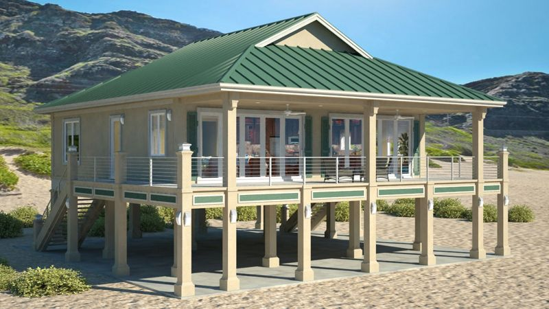 Clearview 1600P \u2013 1600 sq ft on piers  Beach House Plans by Beach