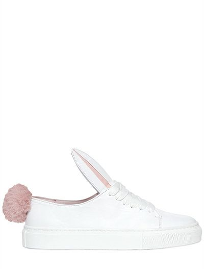MINNA PARIKKA 20Mm Leather Bunny Tail Sneakers, White. #minnaparikka #shoes  #sneakers