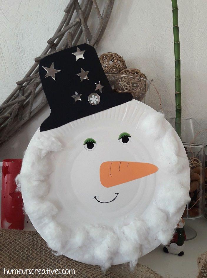 Bricolage d'hiver : bonhomme de neige en assiette en carton -