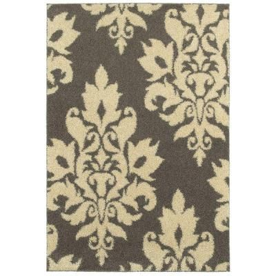 Perfect Home Decorators Collection Meadow Damask Gray 7 Ft. 10 In. X 10 Ft. Area Rug