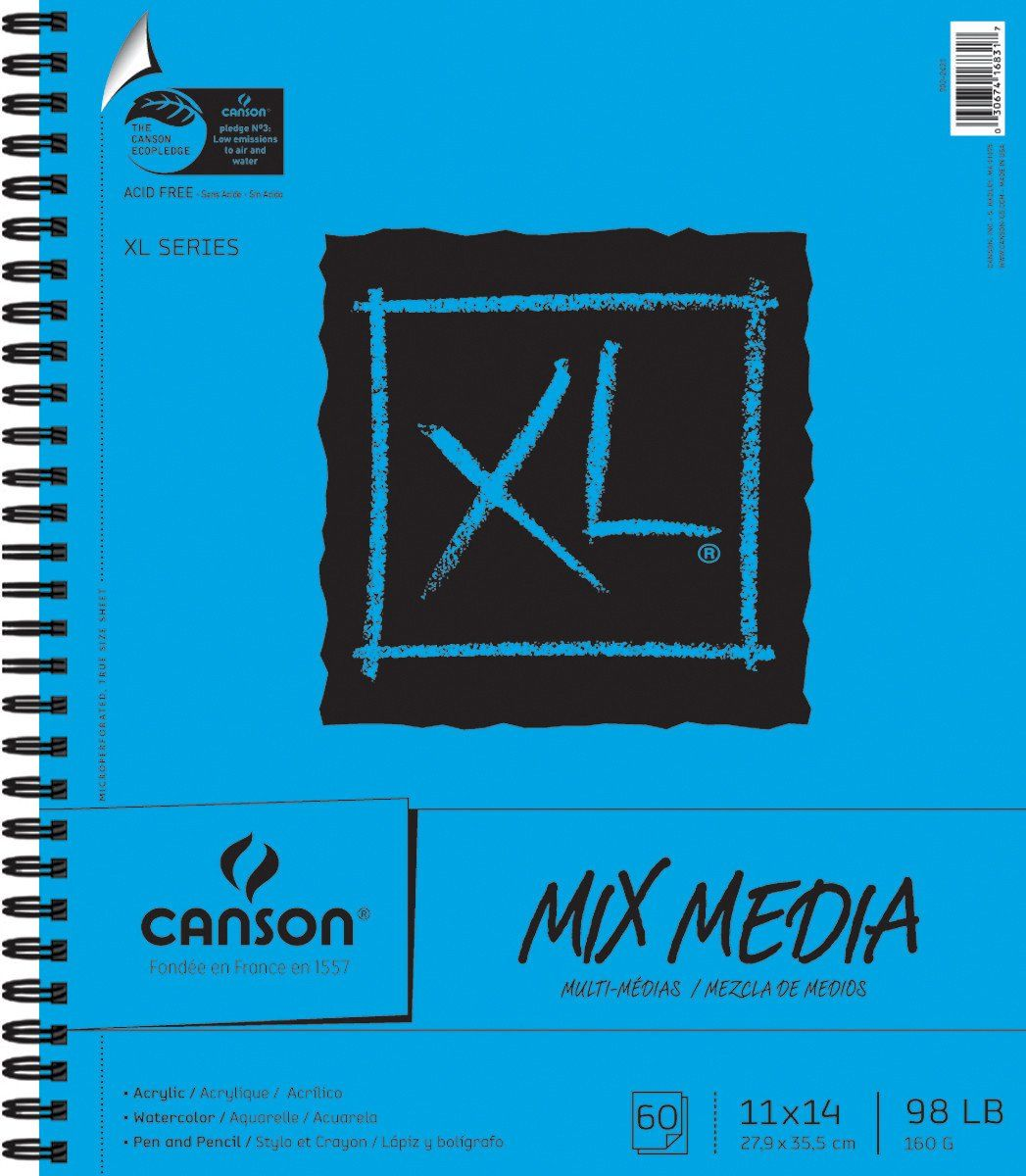 Canson Multimedia Paper Pad 11inx14in Watercolor Paper Drawing